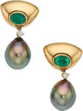 Estate Jewelry:Earrings, South Sea Cultured Pearl, Emerald, Diamond, Gold Earrings, Poiray.... (Total: 2 Items)
