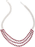 Estate Jewelry:Necklaces, Ruby, Diamond, White Gold Necklace . ...