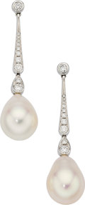Estate Jewelry:Earrings, Freshwater Cultured Pearl, Diamond, White Gold Earrings. ...(Total: 2 Items)