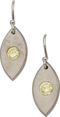 Estate Jewelry:Earrings, Fancy Yellow Diamond, White Gold Earrings. ... (Total: 2 Items)