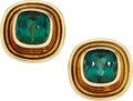 Estate Jewelry:Earrings, Green Tourmaline, Gold Earrings. ... (Total: 2 Items)
