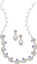 Estate Jewelry:Suites, Tanzanite, Diamond, White Gold Jewelry Suite. ... (Total: 3 Items)