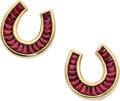 Estate Jewelry:Earrings, Ruby, Gold Earrings, Zorab. ... (Total: 2 Items)