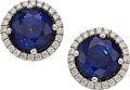 Estate Jewelry:Earrings, Sapphire, Diamond , White Gold Earrings. ... (Total: 2 Items)