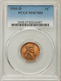 Lincoln Cents: , 1941-D 1C MS67 Red PCGS. PCGS Population: (212/0). NGC Census: (925/0). Mintage 128,700,000. ...