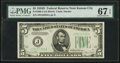Fr. 1960-J $5 1934D Federal Reserve Note. PMG Superb Gem Unc 67 EPQ