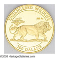 Gambia: , Gambia: Republic gold 200 Dalasis 1996, KM48, choice cameo Proof, endangered wildlife series, with certificate....