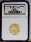 German States:Augsburg, German States: Augsburg. Charles V Goldgulden ND (1517-58), Eagle/Arms, F-43, XF40 NGC. The most available early Augsburg gold piece....