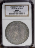 German States:Augsburg, German States: Augsburg. Ferdinand III Taler 1642, Bust right/Cityview with pine cone in center, KM76, Dav-5039, MS63 NGC. Wellstruck and...