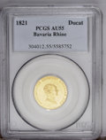 German States:Bavaria, German States: Bavaria. Maximilian IV Rhine-gold Ducat 1821, Bustright/City view, KM366, F-269, AU55 PCGS. Prooflike surfaces withsmall h...