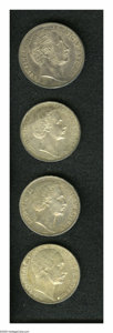 German States:Bavaria, German States: Bavaria. Four-piece lot as follows: Taler 1862,KM468, lustrous AU with minor abrasions; (2) Taler 1871, KM496, XF;and a 2 ... (Total: 4 coins Item)