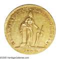 German States:Hamburg, German States: Hamburg. Free City gold Ducat 1807, Hammonia standing/Tablet, KM237, F-1137, lustrous AU and a scarce one-year type....