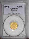 German States:Hamburg, German States: Hamburg. Gold 5 Mark 1877J, KM291, MS64 PCGS. Full mint luster and quite scarce this nice....