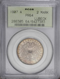German States:Lubeck, German States: Lubeck. Free City Proof 2 Mark 1907A, KM212, Proof64 PCGS. Lightly toned and very close to Gem condition....