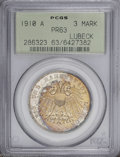 German States:Lubeck, German States: Lubeck. Free City Proof 3 Mark 1910A, KM215, Proof63 PCGS. Gold and blue obverse toning with a mostly white reverse.A very...