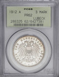 German States:Lubeck, German States: Lubeck. Free City Proof 3 Mark 1912A, KM215, Proof62 PCGS. A dash of toning with a few minor hairlines. A nicer piecethan ...