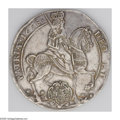 German States:Saxony, German States: Saxony. Johann Georg II Vicariat Taler 1658, KM481, Dav-7630, Elector on horseback right/12 line inscription, about XF. On t...