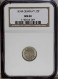 German Lots: , German Lots: A certified pair including: 20 Pfennig 1876F, KM5, MS64 NGC; and a 50 Pfennig 1875F, KM6, MS62 NGC. Both are toned with unde... (Total: 2 Coins Item)