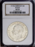 German Lots: , German Lots: Certified 5 Marks trio including: Baden 1913G, KM281, AU53 NGC; Saxony 1914E, KM1266, AU55 NGC; and a Wurttemberg 1913F, KM6... (Total: 3 Coins Item)