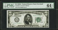 Fr. 1951-D $5 1928A Federal Reserve Note. PMG Choice Uncirculated 64 EPQ