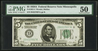 Fr. 1951-I $5 1928A Federal Reserve Note. PMG About Uncirculated 50
