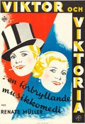 "Movie Posters:Foreign, Viktor and Viktoria (UFA, 1934). Swedish One Sheet (26.5"" X 39"").Hakansson Artwork.. ..."