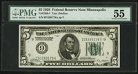 Fr. 1950-I $5 1928 Federal Reserve Note. PMG About Uncirculated 55