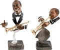 Music Memorabilia:Memorabilia, Louis Armstrong/W.C. Handy Pair of Bust Statues by Paul Wegner(1989/92).... (Total: 2 Items)