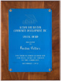 Basketball Collectibles:Others, 1981 Boston Celtics Special Award From Action For Boston CommunityDevelopment (ABCD)....