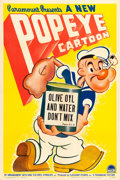 """Movie Posters:Animation, Popeye (Paramount, 1941). Stock One Sheet (27"""" X 41"""") """"Olive Oyl and Water Don't Mix."""". ..."""
