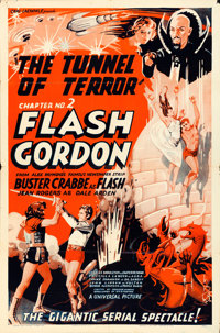 "Flash Gordon (Universal, 1936). One Sheet (27"" X 41"") Chapter 2 -- ""Tunnel of Terror."""