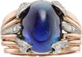 Estate Jewelry:Rings, Kashmir Sapphire, Diamond, Pink Gold Ring. ...