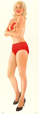 """Jayne Mansfield Pin-Up (Hillman Publication,1956). Poster (21.5"""" X 62""""), Packaging (8.75"""" X 11.25"""")..."""