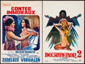 """Movie Posters:Adult, Immoral Tales & Other Lot (Elan, 1974). Belgians (2) (14.25"""" X 21.75""""n 14.5"""" X 21.5""""). Adult.. ... (Total: 2 Items)"""