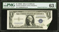Error Notes:Foldovers, Foldover Error Fr. 1614 $1 1935E Silver Certificate. PMG ChoiceUncirculated 63 EPQ.. ...