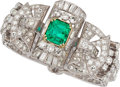 Estate Jewelry:Bracelets, Colombian Emerald, Diamond, Platinum, Gold Bracelet. ...