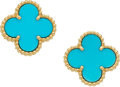 Estate Jewelry:Earrings, Turquoise, Gold Earrings, Van Cleef & Arpels, French. ...(Total: 2 Items)