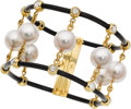 Estate Jewelry:Bracelets, Diamond, South Sea Cultured Pearl, Gold, Leather Bracelet, PrinceDimitri. ...