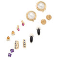 Estate Jewelry:Earrings, Diamond, Multi-Stone, Mabe Pearl, Gold Earrings. . ... (Total: 7Items)
