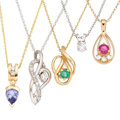 Estate Jewelry:Pendants and Lockets, Diamond, Multi-Stone, Gold Pendant-Necklaces. . ... (Total: 5Items)