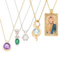 Estate Jewelry:Pendants and Lockets, Diamond, Multi-Stone, Enamel, Gold Pendant-Necklaces. . ... (Total:5 Items)