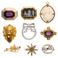 Estate Jewelry:Brooches - Pins, Multi-Stone, Diamond, Seed Pearls, Enamel, Glass, Gold Brooches. ... (Total: 9 Items)