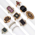 Estate Jewelry:Rings, Diamond, Multi-Stone, Seed Pearl, Glass, Platinum, Gold Rings. . ... (Total: 10 Items)