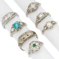 Estate Jewelry:Rings, Art Deco Diamond, Zircon, Emerald, White Gold Rings. ... (Total: 7Items)