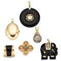 Estate Jewelry:Pendants and Lockets, Diamond, Black Onyx, Gold Pendants. . ... (Total: 6 Items)