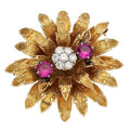Estate Jewelry:Brooches - Pins, Diamond, Synthetic Ruby, Gold Brooch, Hammerman Bros.. . ...