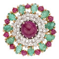 Estate Jewelry:Brooches - Pins, Ruby, Emerald, Diamond, Gold Brooch, French. . ...