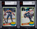 Hockey Cards:Lots, 1980-81 O-Pee-Chee Gretzky & Messier Beckett Graded Pair (2)....