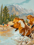 Pulp, Pulp-like, Digests, and Paperback Art, American Artist (20th Century). Men Hunting Grizzlies. Oilon canvas. 15 x 11.5 in. (image). Not signed. Weider Heal...
