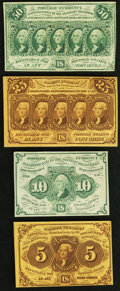 Fractional Currency:First Issue, First Issue Straight Edges with Monogram Denomination Set.. Fr. 1230 5¢ Choice New;. Fr. 1242 10¢ XF;. Fr. 1281 25¢ Choice New... (Total: 4 notes)